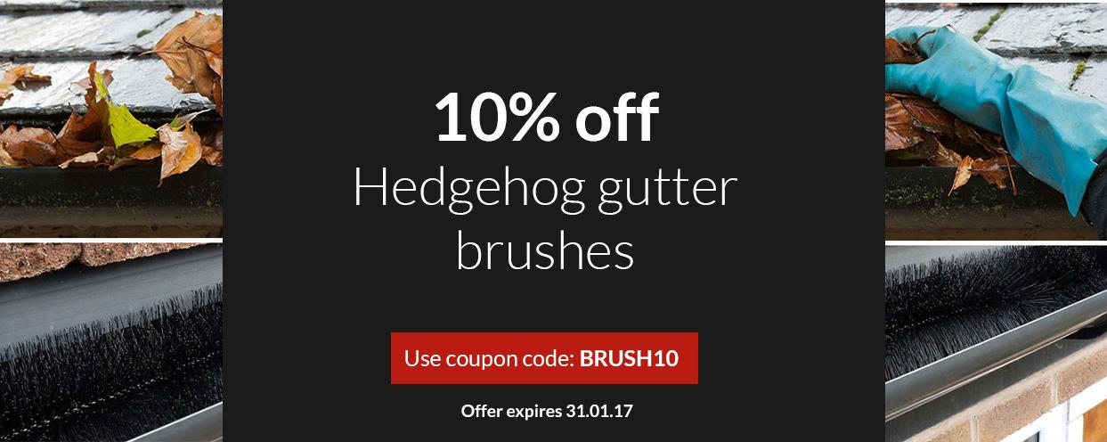 10% off hedgehog gutter brushes