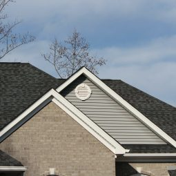 A roofline of a house built using products from Roofing Superstore