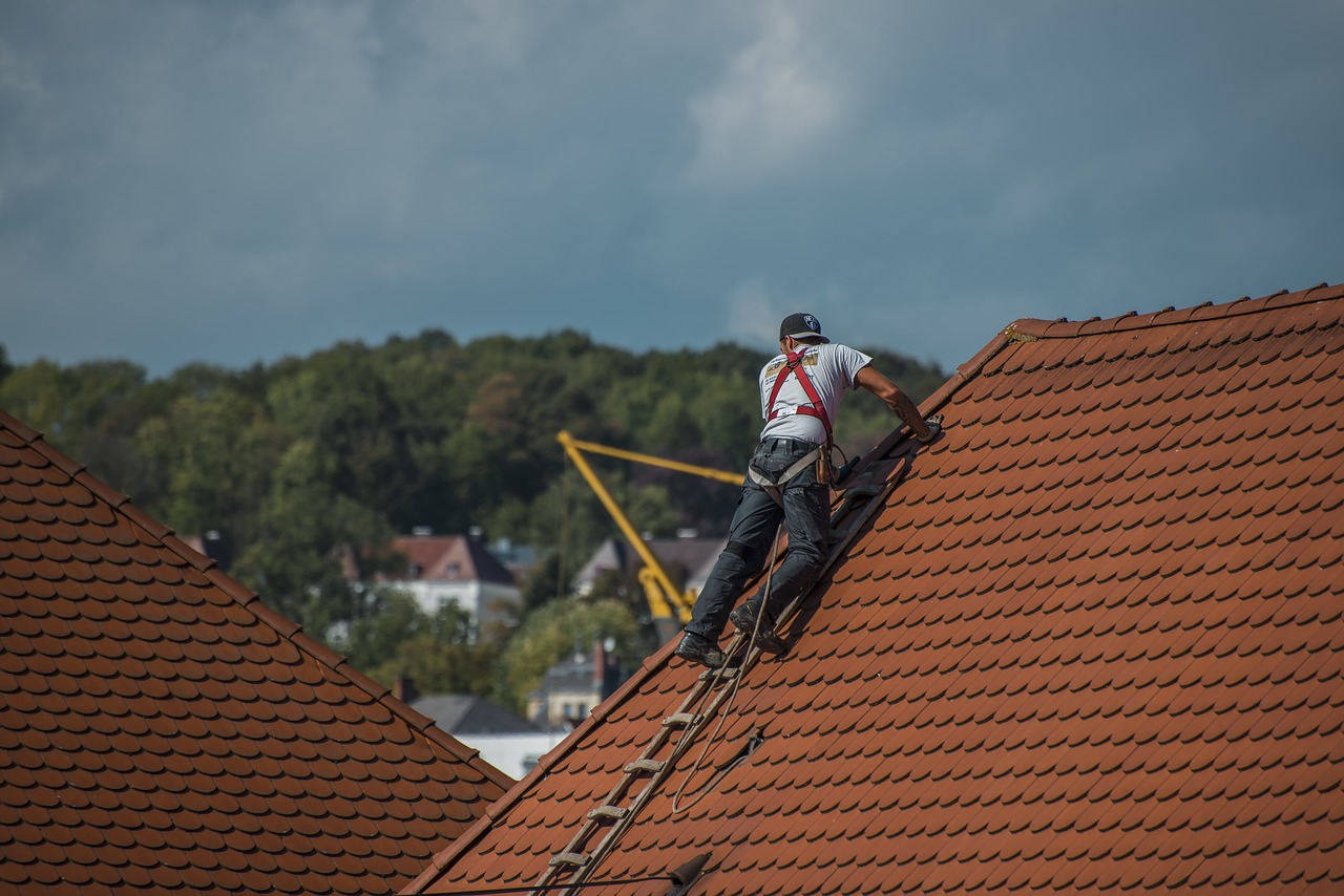 Roofers building a pitched roof