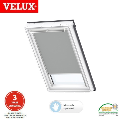 velux manual blackout blind dkl ck01 0705 grey roofing superstore. Black Bedroom Furniture Sets. Home Design Ideas