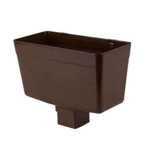 Plastic Guttering Square Downpipe Hopper Head 65mm Brown