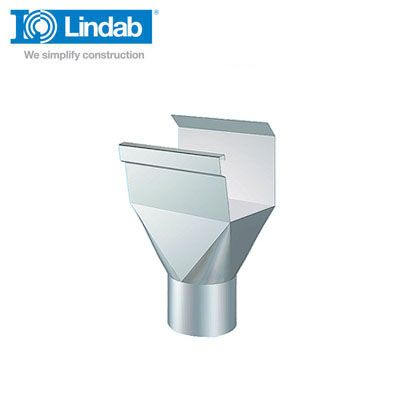 Lindab Rectangular Gutter Outlet 136mm Painted Silver