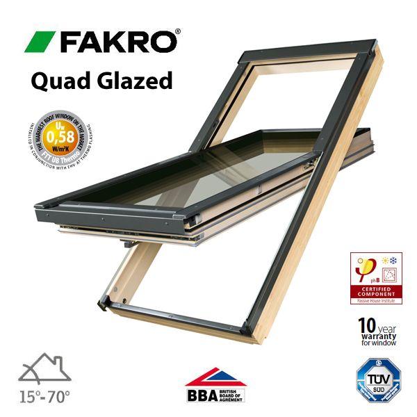 Quad Glazed Windows : Fakro ftt u quad glazed window pine centre pivot