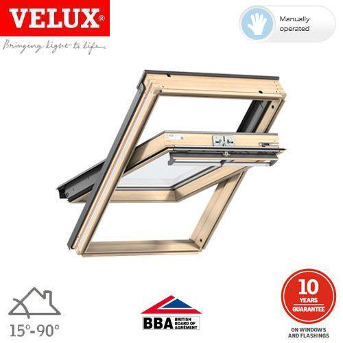 VELUX GGL CK04 3050 Pine Centre Pivot Window Toughened - 55cm x 98cm