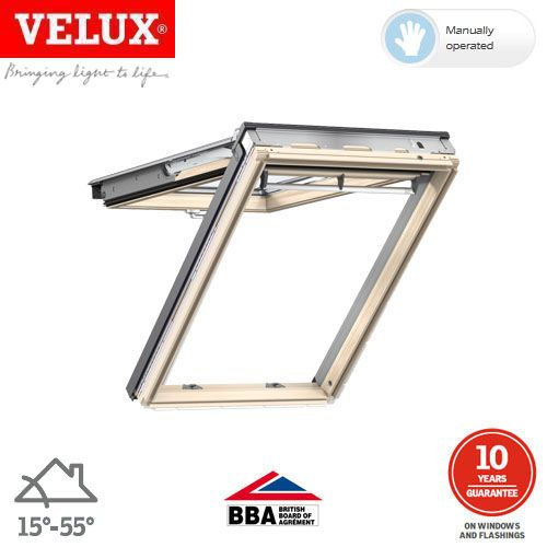 velux gpl pk08 3070 pine top hung window laminated 94cm. Black Bedroom Furniture Sets. Home Design Ideas