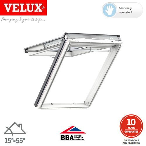 velux gpu mk08 0062 white top hung window triple glazed. Black Bedroom Furniture Sets. Home Design Ideas