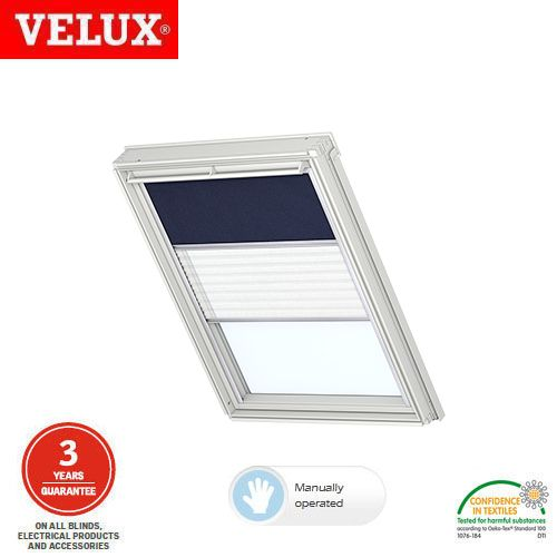 Velux manual duo blackout blind dfd ck02 0001 dark blue for Velux solar blinds installation instructions