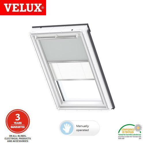 Velux manual duo blackout blind dfd m04 0705 light grey for Velux solar blinds installation instructions