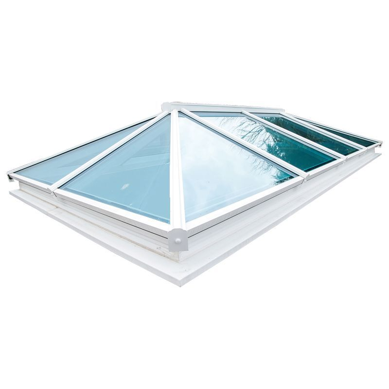 atlas double glazed aluminium roof lantern white on white