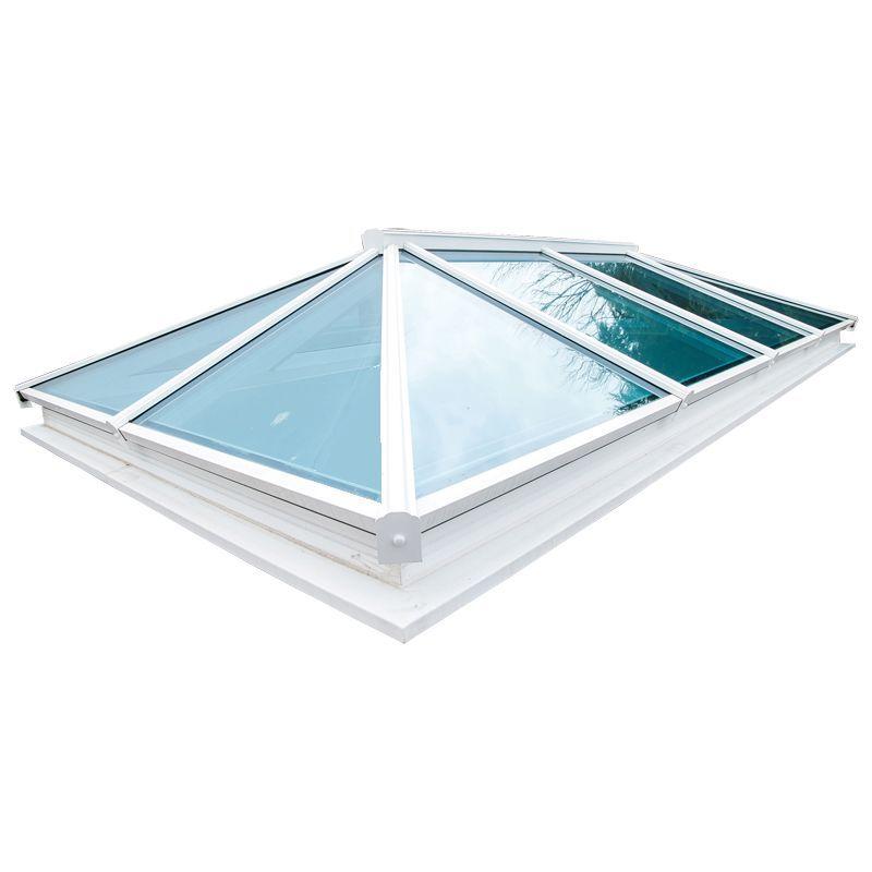 Atlas double glazed aluminium roof lantern white on white for Bett 2m x 2m