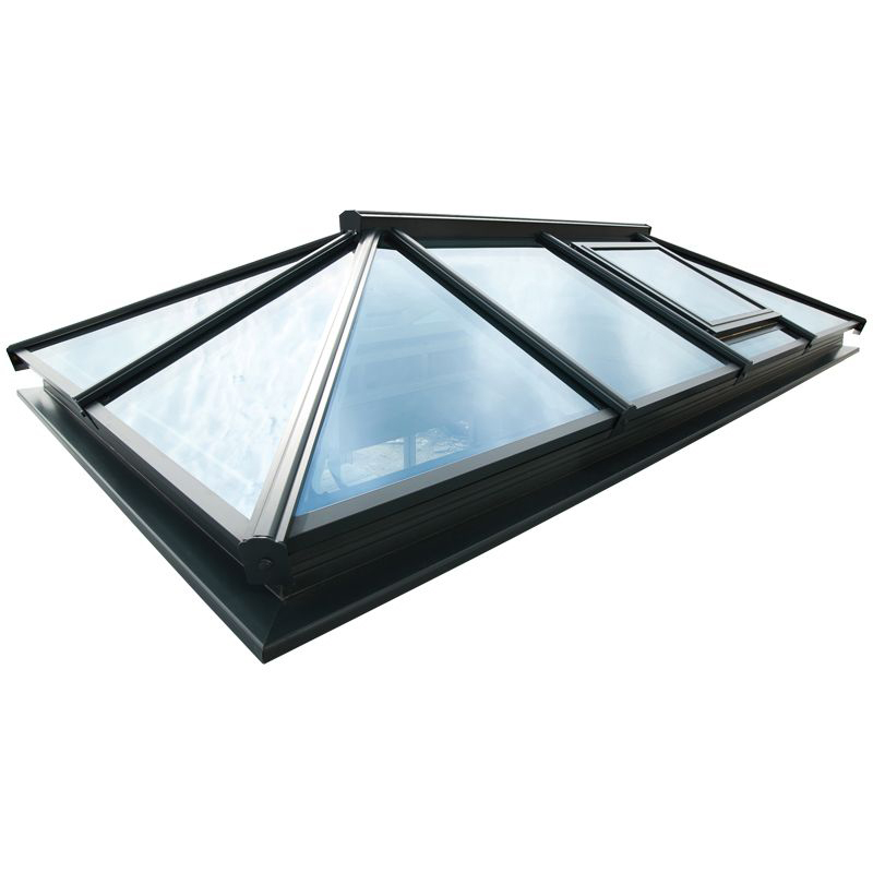 Atlas Double Glazed Roof Lantern Grey With Electric Roof