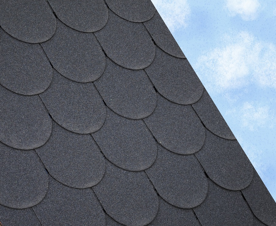 Roofing Felt Shingles Black Scalloped ...