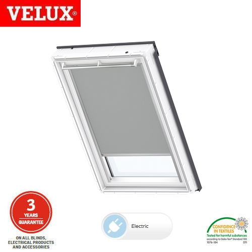 Velux electric blackout blind dml f06 1705 light grey for Velux solar blinds installation instructions