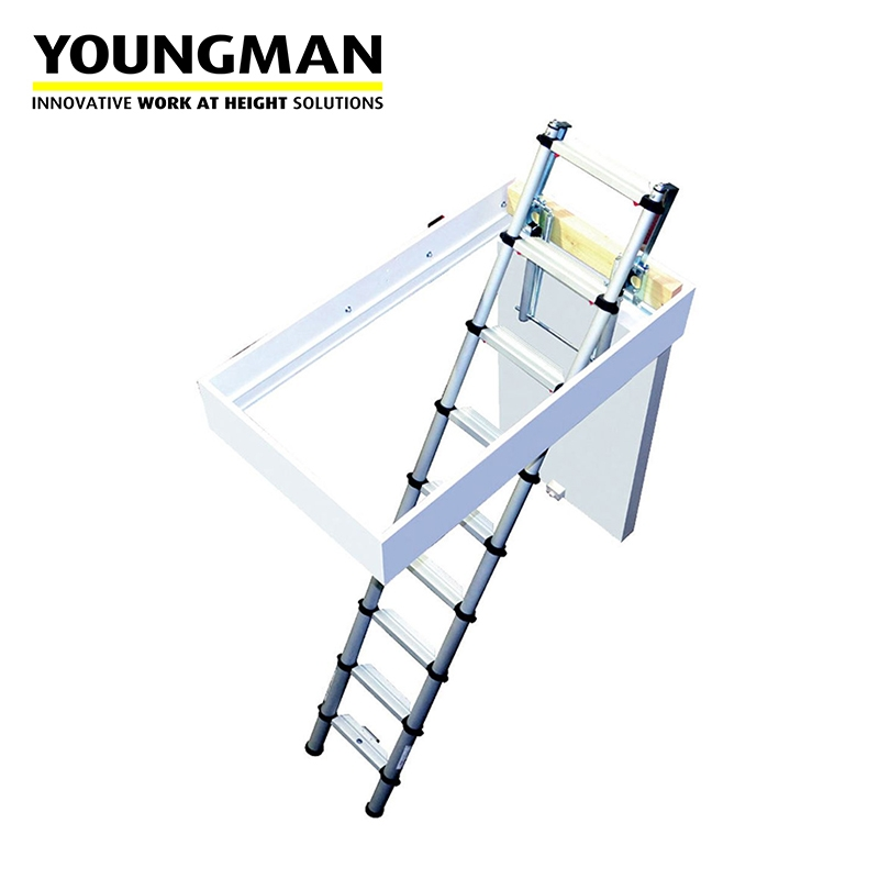 youngman telescopic loft ladder with automatic locking. Black Bedroom Furniture Sets. Home Design Ideas